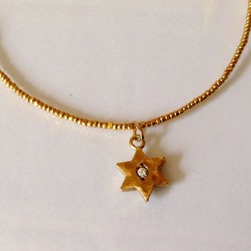 Gold Jewish Star- 14k Gold Star Of David - 14k Gold Charm - Gold Beaded Necklace - Gold Star With Diamond Middle -  Hammmered Gold Star