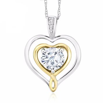 10K TwoTone Gold Diamond Accent Double Heart Pendant Created Moissanite 0.50 Ct