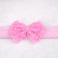 "1 Baby Girls Pink Lace Bowknot Stretch Headbands 18x5cm(7 1/8""x2"") = 1705603588"