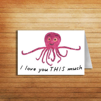 Boyfriend Birthday Card Printable Love card for Boyfriend gift I love you THIS much Cute Octopus Greeting Card Funny Anniversary Card Groom