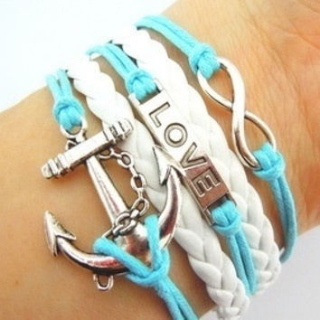 Infinity Love Anchor Multi-layer Leather Strap Bracelet = 1932053124