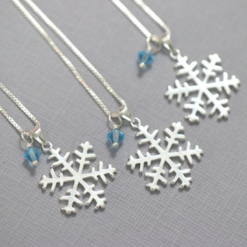 Sterling Silver Snowflake and Swarovski Crystal Necklace, Winter Wedding Necklace, Winter Bridesmaid Jewelry, Flower Girl Necklace