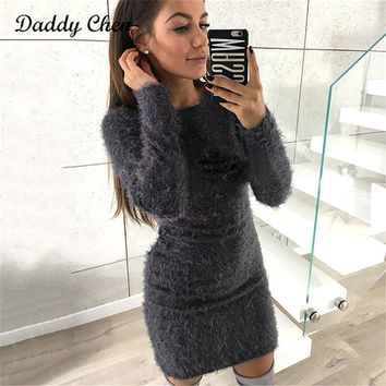 2018 Fashion Winter Plush sweater Dress Women Party night Bodycon Christmas Black clothing Casual Sexy Mini bandage Dress Female