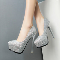 Bridal Prom 2016 New Sexy Multi Colored Sequined Cloth Korean Plateau Models Stiletto Wedding Women Fashion Shoes 2015 Platform