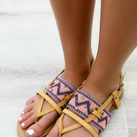 Mohican Tribal Print Flat Tan Sandals