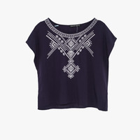 Embroidered Crop Sleeveless Top