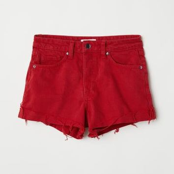 Denim Shorts - Red - Ladies | H&M US