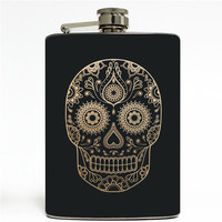 Sugar Skull Day of the Dead Black & Gold Stainless Steel 8oz Hip Flask