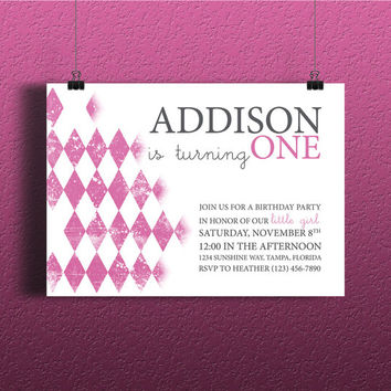 Instant Download-Distressed Pink Argyle Vintage Rustic DIY Printable Birthday Party Baby Girl Toddler Shower Invitation Template