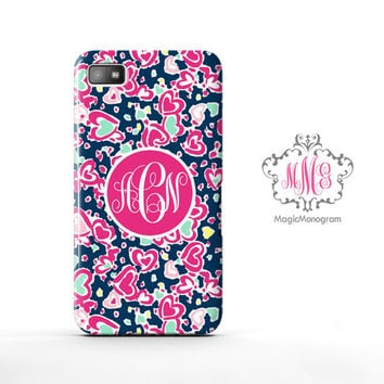 Hearts Love Pattern Lilly Pulitzer Monogram Blackberry Case Z10, BB Q10 Case