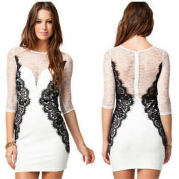 Summer Women's Fashion Sexy See Through Round-neck Slim Lace One Piece Dress [6339041665]