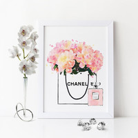 CHANEL PEONIES BAG,Watercolor Flowers,Gift For Her,Chanel Shopping Bag,Coco Chanel Perfume,Pink Peonies Bag,Fashion Illustration,Pink Flower