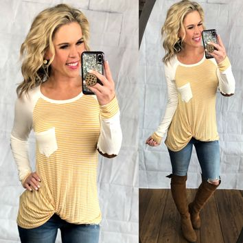 Striped Elbow Patch Knot Top