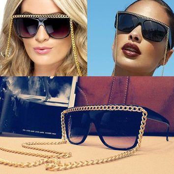 JackJad 2017 Fashion Women Gold Chain Sunglasses Vintage Retro Brand Design Sun Glasses Eyeglasses UV400 Oculos De Sol Feminino