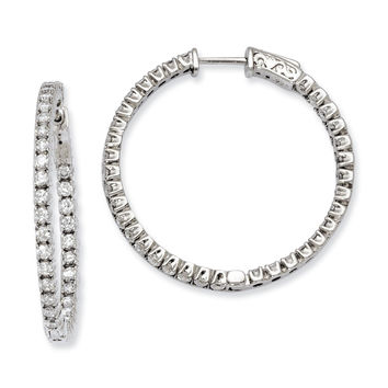 Sterling Silver CZ 70 Stones In and Out Round Hoop Earrings QE7569