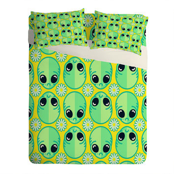Chobopop Sad Alien And Daisy Pattern Sheet Set Lightweight