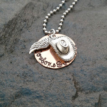 Cowboys and Angels Necklace - Hand Stamped - Dustin Lynch Country Song - Cowgirl Necklace- Cowboy Necklace - Country Necklace