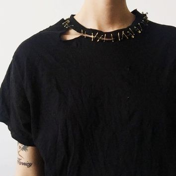 8ed390f6 Vintage Distressed T-Shirt w/ Gold Safety Pins | super grungy .