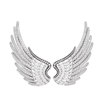 Acrylic angel wings wall decor, set of 2