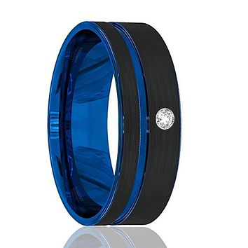 Mens Wedding Band - Tungsten Wedding Band - Black Tungsten Brushed - Thin Side Blue Groove Cubic Zircon Flat Edge - Man Tungsten Ring - 8mm