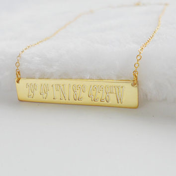 Engraved Coordinates Necklace,Latitude longitude Necklace Gold,GPS Coordinate Necklace,Horizontal Bar Jewelry,Custom Bar Necklace