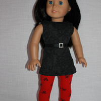 3 piece set! black lace look tank top, red bow print leggings, black grosgrain ribbon belt , 18 inch doll clothes, American girl, Maplelea