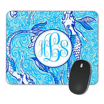 Mousepad Blue Navy Mermaids Tails Ocean, Personalized Monogrammed Mouse Pad  Custom Gift, Mouse Mat Gift for her
