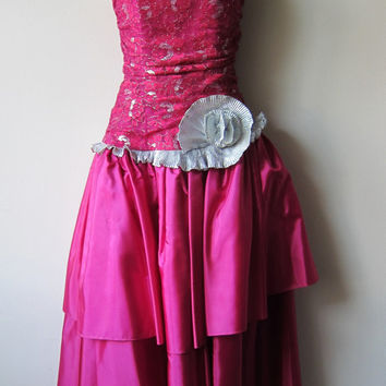 TOTALLY 80s Hot Pink / Fuchsia and Silver Asymmetrical Sparkle Lace & Ruffle Tea Length Prom Party Dress