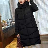 Long Coat Slim Thickened Turtleneck Warm Jacket Cotton Padded Zipper Plus Size Outwear Casacos 4 Colors