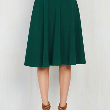 Just This Sway Midi Skirt in Emerald | Mod Retro Vintage Skirts | ModCloth.com