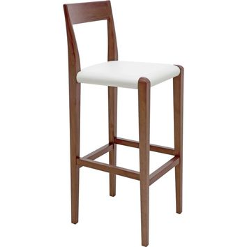 Ameri Counter Height Stool White Top Grain Italian Leather
