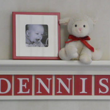 "Nautical Red Baby Boy Nursery Wall Decor 30"" Linen White Shelf with 8 Red Wood Letter Plaques - DENNIS with Sailboats"