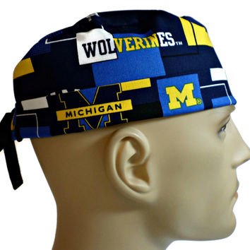 Men's Adjustable Cuffed or Un-Cuffed Surgical Scrub Hat Cap in Michigan Wolverines New Block