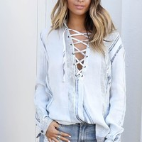 Prove It Navy & Ivory Lace Up Top