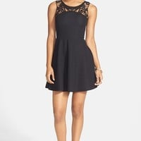 Lush Lace Yoke Textured Skater Dress (Juniors)