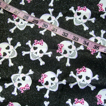 Skull quilt fabric with glitter bows hearts cotton quilting sewing material crafting by the yard
