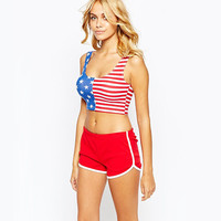 American Flag Pattern Cropped Tank Top