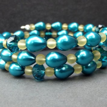 Teal Blue Pearl Bracelet:  Triple Wrap Bracelet, Turquoise and Yellow Beaded Cuff, Something Blue Winter Wedding Jewelry