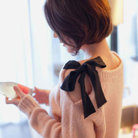 A 082601 Strapless Bow Retro Loose Cardigan Sweater Coat