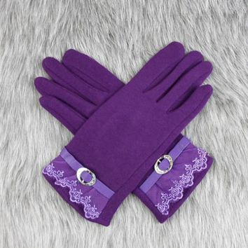 Touch screen gloves lace thickening cycling gloves Purple