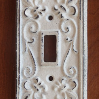 Antique White Light Switch Cover / Light Plate Cover / Cast Iron / Wall Decor / Fleur de lis Pattern
