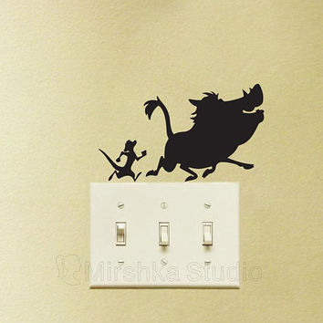 Timon and Pumba Light Switch Stickers - The Lion King Velvet Wall Decal - Hakuna Matata Macbook Decal - Pumba Laptop Sticker - Pig Decor