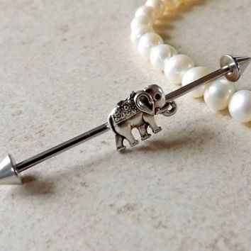Industrial Barbell Tiny Elephant Body Jewelry Ear Jewelry Double Piercing