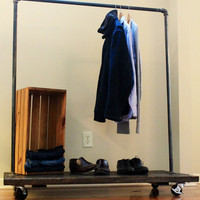 Steel and Pine Clothing Rack with Industrial Casters