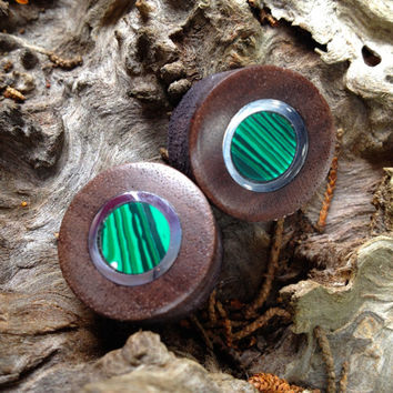 Malachite, silver and walnut wood plugs