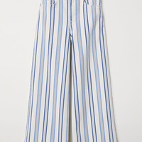 Ankle-length twill trousers - White/Striped - Ladies | H&M GB