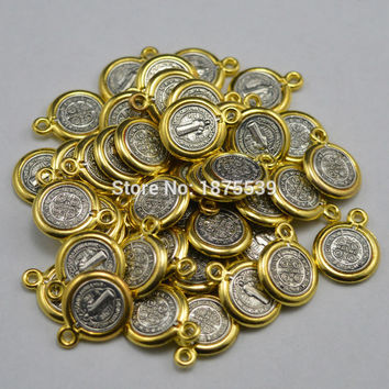 Small religious medal St benedict figures with PAX out golden color in anti-silver plated