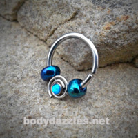 Blue Bendable Septum/Cartilage Hoop Ring with Opal Set Spiral 16ga