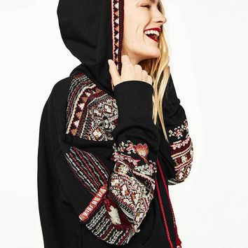 Boho Embroidered Patchwork Hoodie Pullover