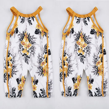 0-4Y  Sleeveless Floral Romper Playsuit One Pieces Sunsuit